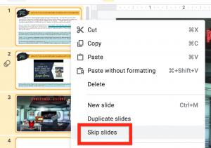Skip slides selected